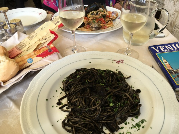 Squid ink linguine in Venice