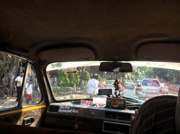 Inside an Indian taxi