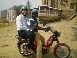 Dr Muss on a moto taxi