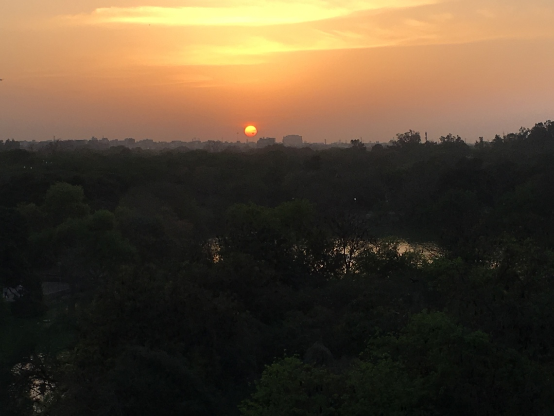 Sunset in Hauz Khas village in Delhi