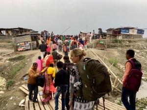 Getting off the ferry at Kamalabari Ghat, Majuli, Assam, India