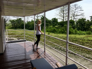 On the top deck of the river cruise at Nimati
