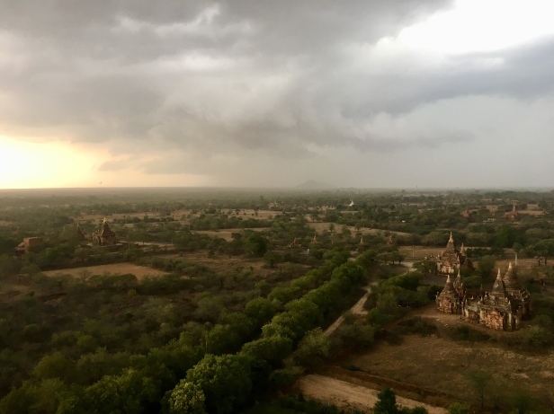 A storm in Bagan at sunset, Myanmar