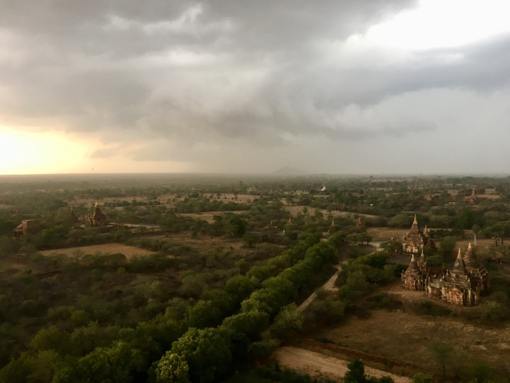 A storm in Bagan at sunset, Myanmar