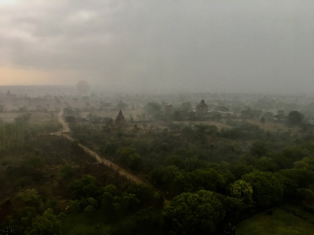 A view of Bagan in a rainstorm, world heritage site in Myanmar