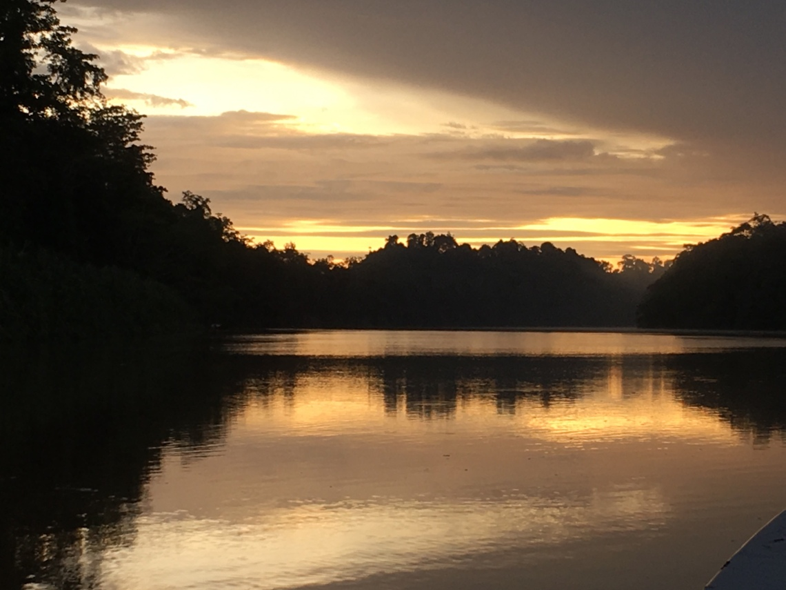 Sunset on the Kinabatangan River in Borneo