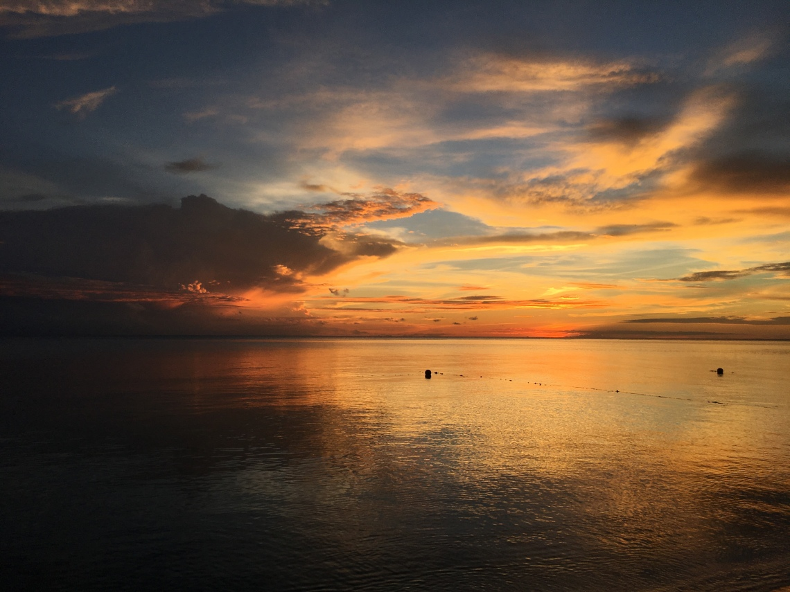 Sunset off the coast of Borneo