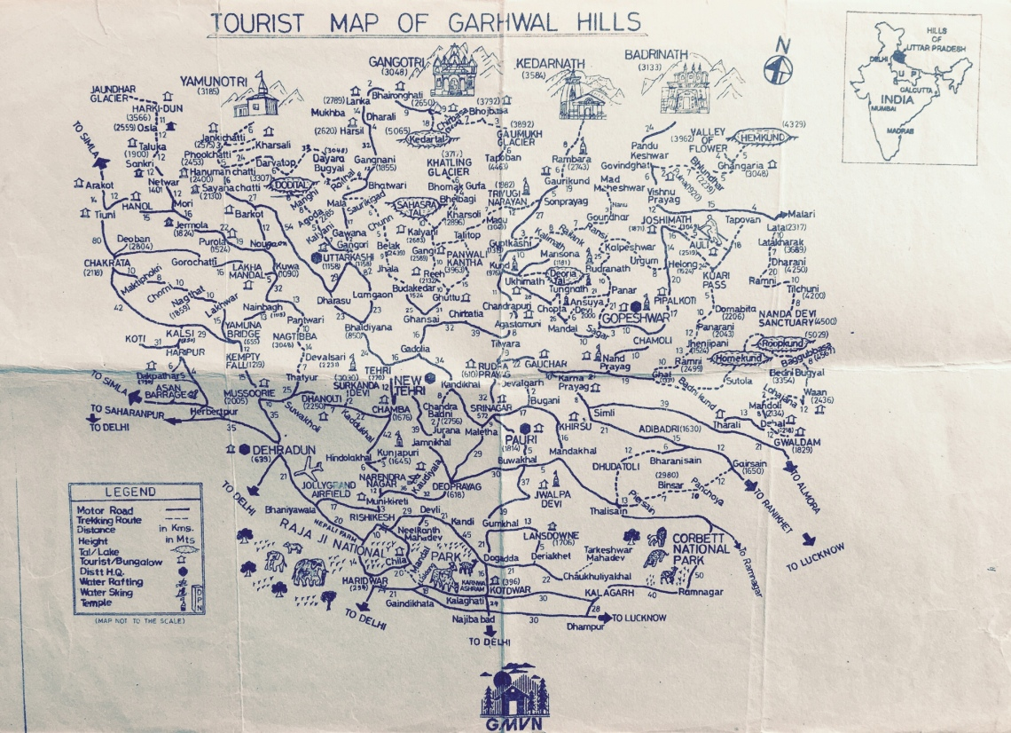Tourist map of Garhwal
